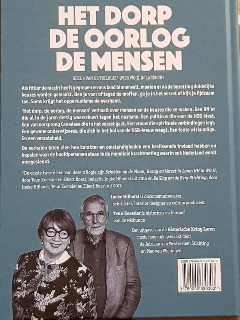 """Boekomslag """"Het dorp, de oorlog, de mensen van Ineke Hilhorst en Teun Koetsier met portret van Ineke Vaasen"""