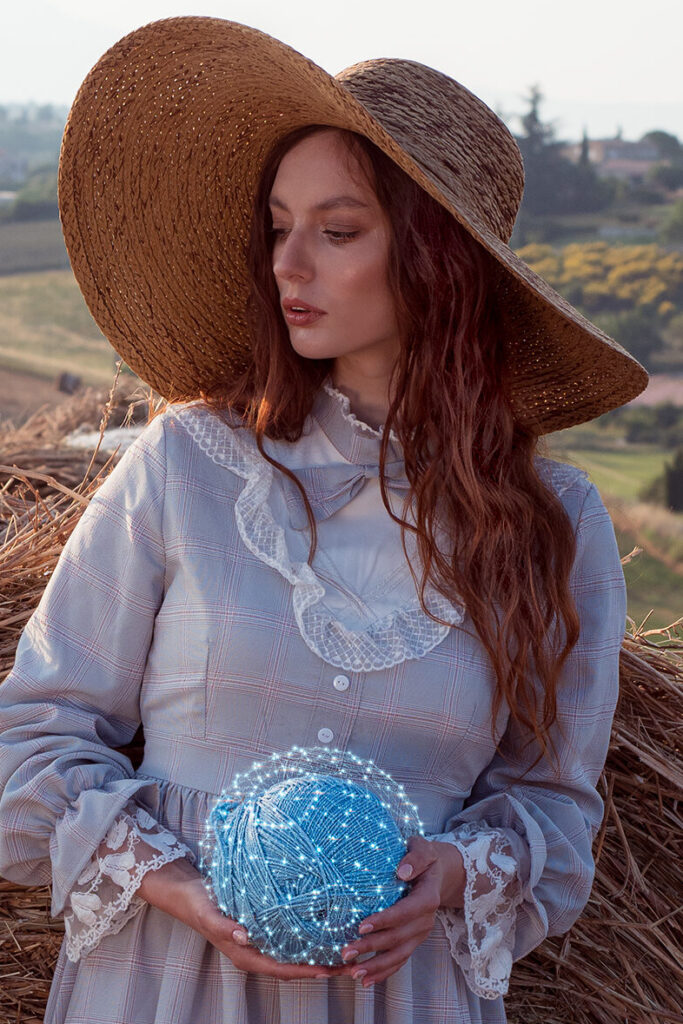 Nastya holding sphere in Provence, France