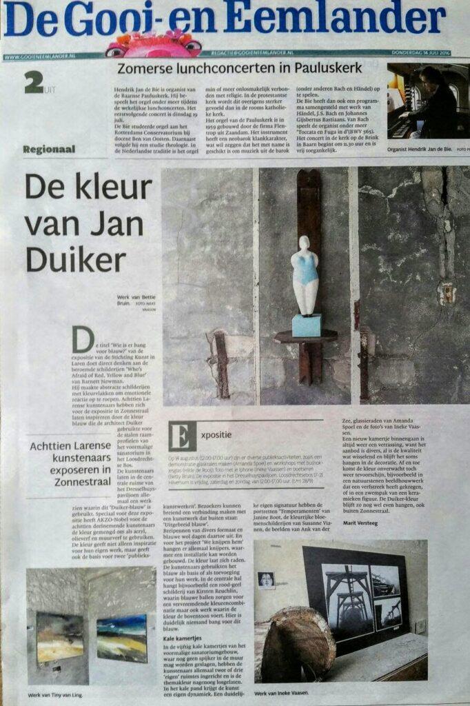 Artikel Gooi en Eemlander expositie Zonnestraal