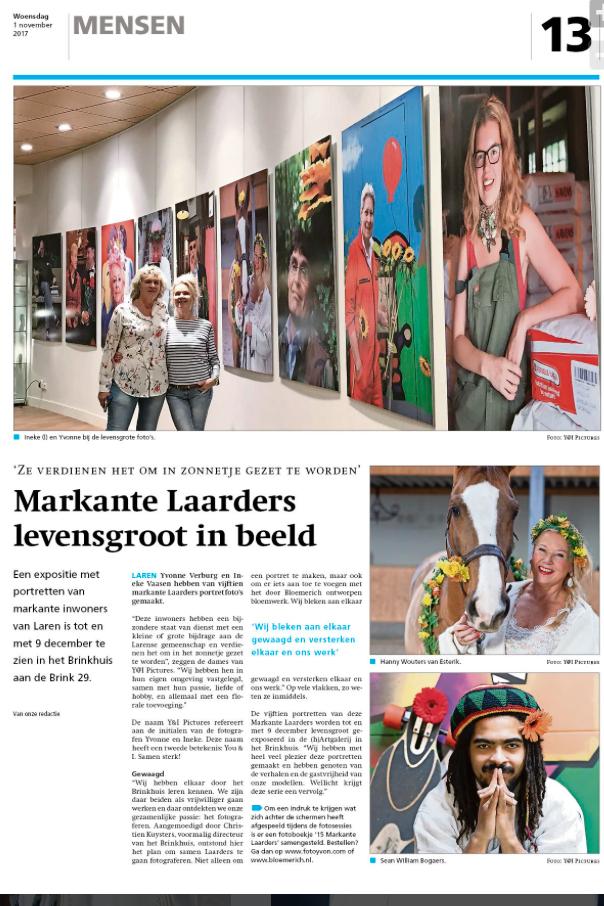 Artikel in de BEL expositie Markante Laarders op de (h)Artgalerij in het Brinkhuis in Laren NH
